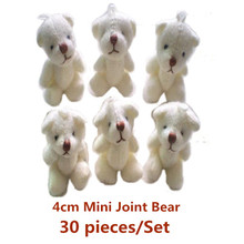 4cm Mini Joint Bear Plush toys Wedding Couple gifts Children's Cartoon toys Bouquet Bear doll Hot sales 30pcs/Set(China)