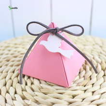 The pyramid and joyful box Wedding decoration candy box Party dove candy boxes 50pcs(China)