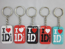 I love 1D key chain, One direction dog tag, Silicon key ring, bluewhiteredblack, pendant,50pcs/lot, free shipping(China)