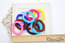 retail sale ladies simple hair rope telephone line cheap hair ring Many Color Elastic Hair Band Rope 10pcs/lot(China)