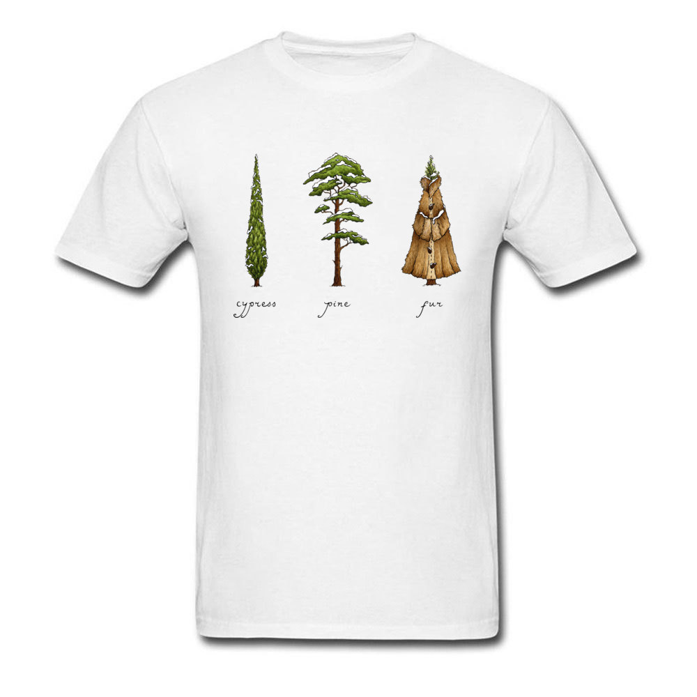 Know Your Coniferous Trees T-shirts for Men Street Fall Tops Shirt Short Sleeve Brand Printed On Tee-Shirt O Neck Pure Cotton Know Your Coniferous Trees white
