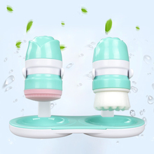 2IN1 Face Brush Cleansing Wash Brushes Silicone Facial Brush Cleanser Tool Waterproof Design Skin Care Massage Face Wash Spa
