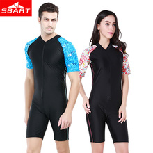 SBART Short Sleeve Wetsuit Women Surfing Snorkel Scuba Diving Suit Anti-UV Lycra Swimming Wet Suits Men Womens Rash Guard XXL O(China)
