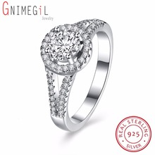 GNIMEGIL Classic Simple Design 4 Prong Sparkling Cubic Zirconia Forever Wedding Ring Women Bague Bijoux Size 6 7 8(China)