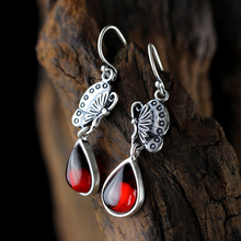 925 silver products Listed on the new women's new fashion summer butterfly love pomegranate red fine silver earrings(China)