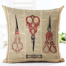 2016 New Arrival Creative Retro Pictorial Throw Pillow Cojines Chair Cushion Almofadas Cotton Linen Square