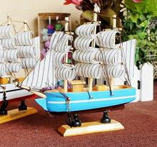 Pirate Ship Wood Sailboat Mediterranean Style Decorations Solid Wood Yacht Handmade Crafts Wooden Boat Living Room Home Decor