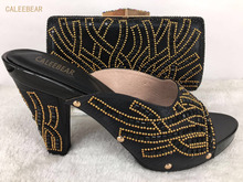 Hot Sale Italy Gold Crystal Matching Shoe And Bag Set Fashion Shinning Woman High Heels Shoes And Bag Set For Party Black Color(China)