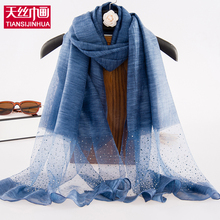 2017 New Luxury Brand Women Silk Scarf Female Diamond Scarves Scarf Long Size Girls Foulard Femme Echarpes Shawl Solid Hijab(China)