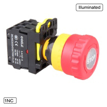Emergency stop pushbutton LED (22-30mm aperture) 10A Twist Release Pull Release Waterproof IP65 1NO 1NC 2NO 2NC