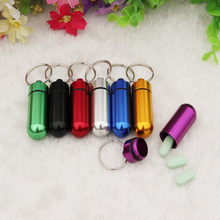 1PCS small metal container aluminum pill box holder keychain medicine packing bottle Wholesale with Free shipping(China)