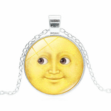 XUSHUI XJ Sun and moon Emoji Pendant necklace Fashion Jewelry Glass Cabochon Silver chain necklace for women gift(China)