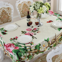 Table Cloth Floral Pattern Pink Green Printed Dust Proof Kitchen Table Covers for Fridge Microwave Christmas Tablecloths(China)