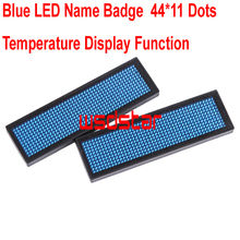 Blue LED Name Badge Blue LED Name Tag 44*11 dots Scrolling screen business card tag Temperature display function