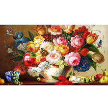 85*56 5D Diamond Painting HD Canvas Flowers Diamond Embroidery DIY Diamond Mosaic Blossom Season 5D Round Diamond Painting(China)