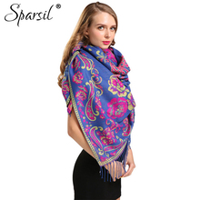 Sparsil Women Autumn Cashmere Blend Tassels Square Scarves Female Winter Soft Skin-Friendly Printed Scarf