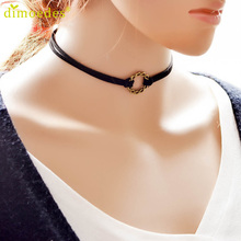 Diomedes Gussy Life Simple Fashion Necklace Gothic Black Velvet Retro Choker Collar Jewelry Flower Pendant Feb14