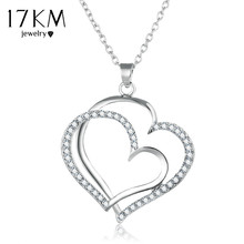 17KM Silver Color Romantic Wedding Rhinestone Heart Pendant Choker Necklace For Women New Fashion Hollow Out Boho Jewelry