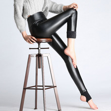 2017 New Women Elastic Velvet Pants Thick Female PU Leather Pants High Waist Warm Winter Sexy Slim Plus Size Pencil Trousers(China)