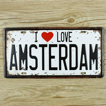 "Wall art house bar coffee decor ""I Love Amsterdam"" Garage poster License plates Metal painting tin signs 15x30 cm free shipping"