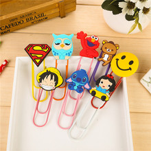 5 pcs of set Creative cartoon icon large paper clips Silicone bookmark metal clip students stationery(China)