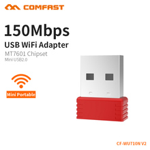 Mini Wifi Adapter Usb Wifi Antenna MTK7601 Chip 150Mbps 2.4GHz Desktop Wifi Dongle PC WI-FI Receiver Windows OS CF-WU710N-V2.0(China)
