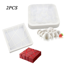 2PCS Cube Twill And Cloud Shaped Bakeware White Silicone Cake Pan Mousse Cupcake Baking Decorating Molds