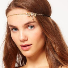 Fashion Party Hair Jewelry Gold Headband Rhinestone Dragonfly  Pendant Elastic Rope Women Accessory