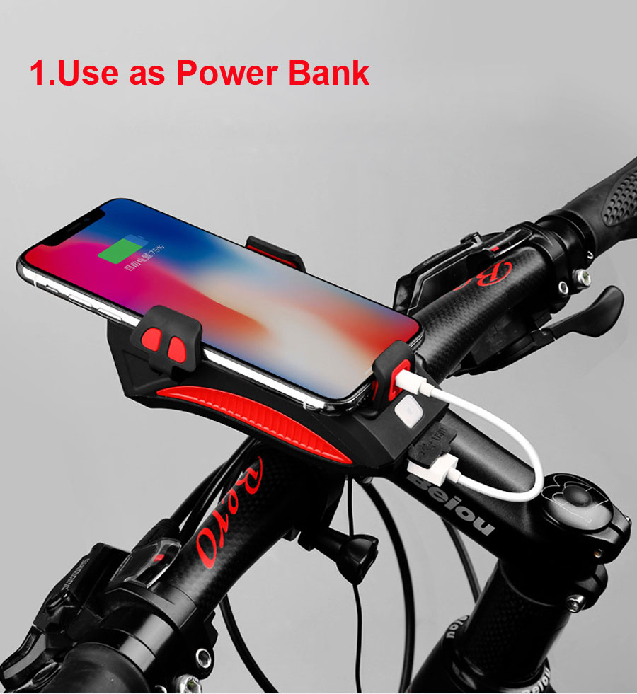 Cheap NEWBOLER 4 in 1 Bicycle Light Power Bank 4000mAh Flashlight Bike Horn Alarm Bell Phone Holder Bike Accessories Cycle Front Light 3