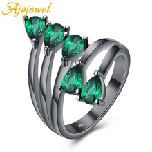 Ajojewel Gun Black Plated New Arrival Exquisite Unique Jewelry Retro Black/Blue/Purple/Green Stones Leaf Rings Women