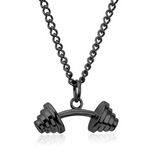 Fashion Black Stainless Steel Necklace Dumbbell Design Man Jewelry Punk Biker Men's Pendants Necklaces
