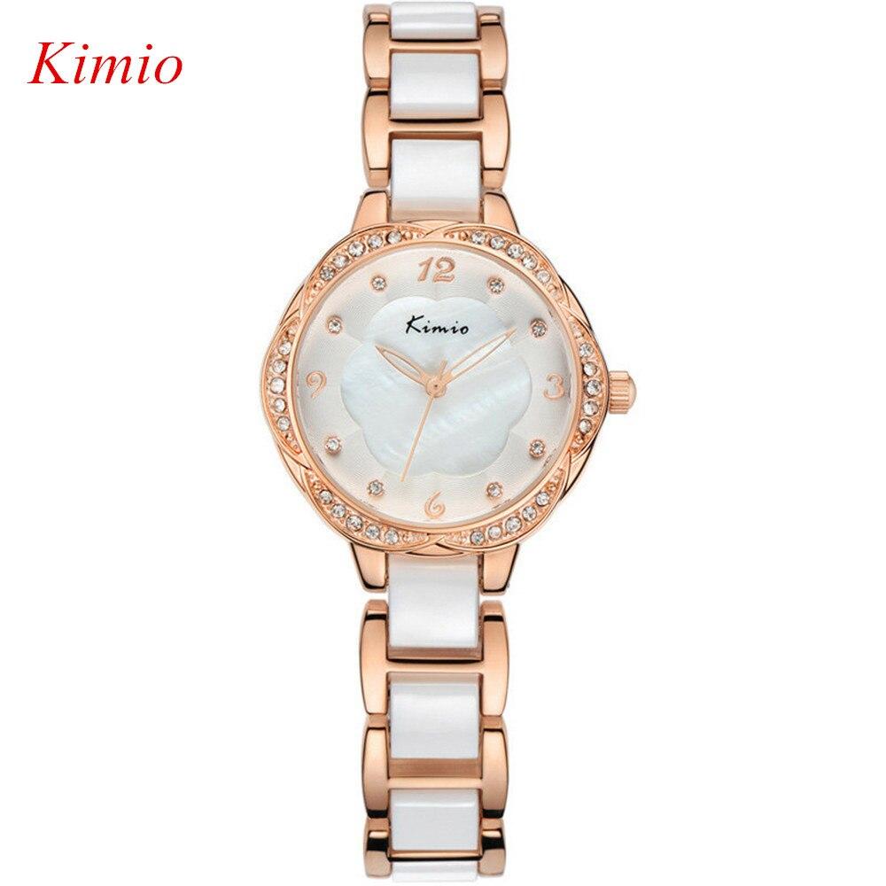 KIMIO TOP Brand Luxury watches women 2016 New Fashion Quartz Watch Crystal Diamonds Ceramic Rose gold Watch Women Reloj mujer<br><br>Aliexpress