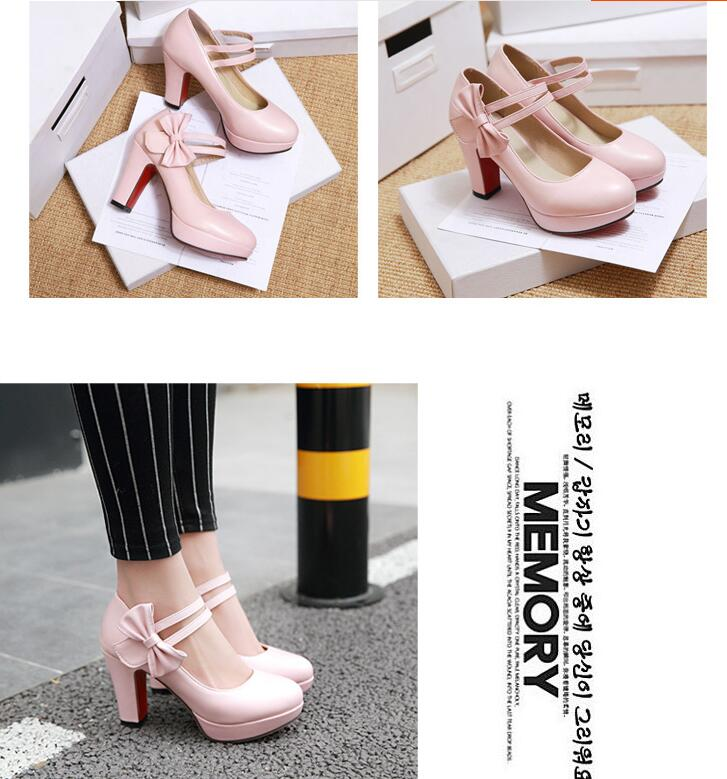 Single Shoe Girl Sweet Bow Thick High Heel Shoes Platform Red Bottom Black Work Shoes Women Dress Wedding Shoes Big Size 43 46