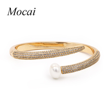 Top Quality Simulated Pearl Nail Bangle & Bracelet Cubic Zircon Wedding Gold Color Jewelry Accessories Brand Design zk35