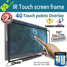 Best price! 40 touch points 65 inch IR Touch Screen Frame,Multi touch panel with High Sensitivity/ Free Shipping