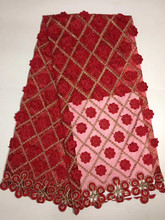 PD126 red holesale Polyester Embriodery Beads African Lace Fabric / Nigerian Wedding Mesh Net Lace Fabric For Aso Ebi Style(China)