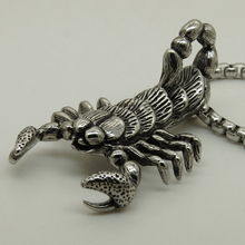 big scorpion vary width 60cm(23.6 inch)length round box steel chain 316L stainless steel pendant necklace(China)