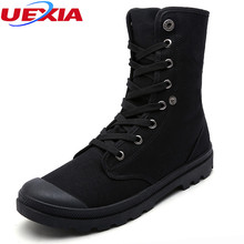 UEXIA Men Boots Shoes Male Desert Work Ankle Botas Tactical Men's Working Combat Hunting Military Stitching Canvas Motorcycle