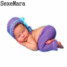 2017 Hot Sale Newborn Baby Photography Props Made To Knit Soft Hand Beautiful purple Cap Baby And Pants Bebek Clothes 0-3 Months