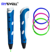 Myriwell RP-100A Christmas gift 3D Printer Pen Hot selling Draw printing Pen With 3 Color ABS Filament Arts LED Printer for kids