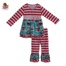 2017 new christmas baby girls outfits baby clothes gifts cotton stripe dress ruffle legging boutique children clothing sets F113(China)