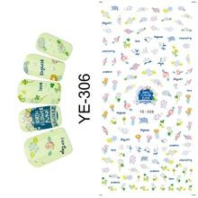 WATER TRANSFER DECAL NAIL ART NAIL STICKER CARTOON FLOWER UMBRELLA ICE CREAM BOW TIE YE306-311(China)