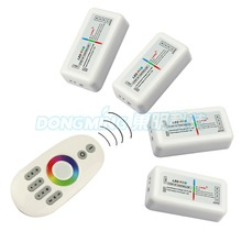 1pcs Remote+4x RGB Controller,4-Zone 2.4G RF RGB Controller Dimmer Touch Wireless Remote for RGB LED Strip(China)