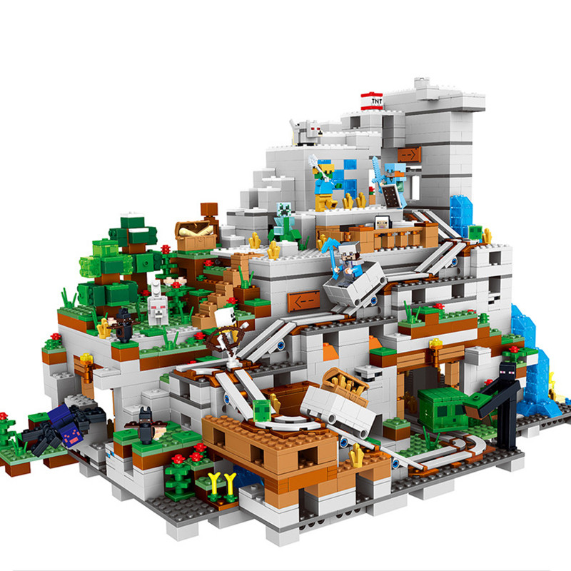 2932pcs-Legoings-Miniecraft-The-Mountain-Cave-My-worlds-Model-Building-Kit-Blocks-Bricks-Toy-for-Children