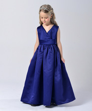 Fashion high quality royal blue wrap neck maxi gown for 4 to 13 girls party wear kids cocktail dress