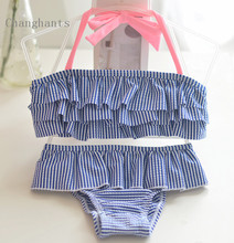 2017 New Model Baby Swimwear Girls 2 Pieces Stripe with Frills Layer Kids Bikini set Children Swimsuit 2-8Y  sw0814 Bathing suit