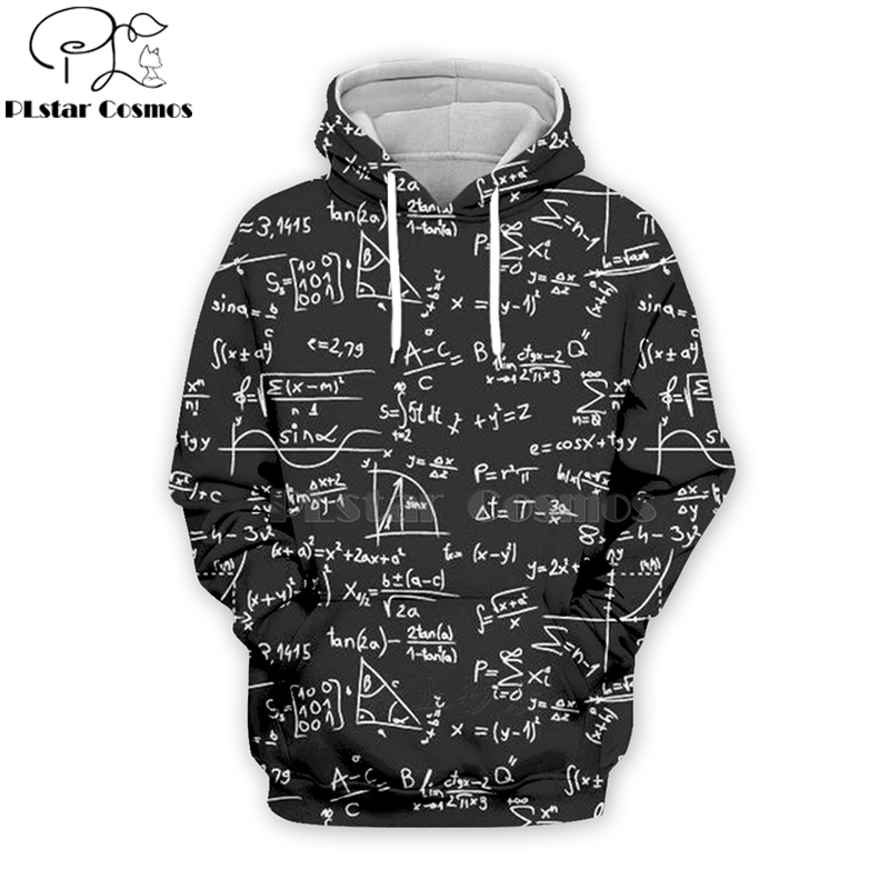 Fashion Mens 3D Math Printing Fit Long Sleeve Sweatershirt Top Blouse Plus Size