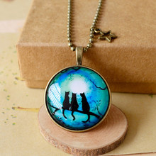 Wholesale Jewelry Luminous Cat Pendant Necklace Fluorescent Stone Locket Cage Glow In The Dark Gifts For Women Glow in the DARK(China)