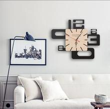 PINJEAS Large Decorative Wall Clock Creative Wall Clock Abstract Art Mute Personality Simple Home Decor Modern Pocket Clock(China)