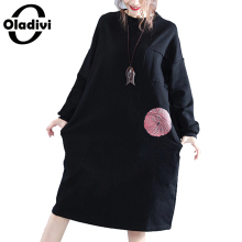 Oladivi 2017 Autumn Winter Plus size Women Velvet Dresses Casual Loose O Neck Female Vintage Clothing Long Top Tunic Print Dress(China)